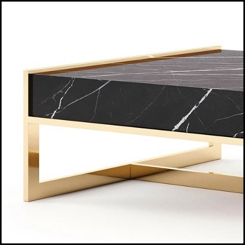 Table basse en chêne massif finition gris 146-Estamp