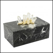 Box in black marble with lid 162-Quartz and Marble