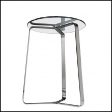 Table d'appoint en acier poli finition chrome et plateau en verre 183-Triple Feet