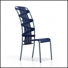 Chaise en aluminium finition laqué bleu 30-Weaving High Back