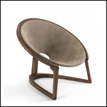Armchair with Walnut and Genuine Leather 154-Eternity