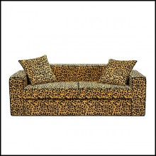 Sofa with wooden structure with velvet leopard fabric 162-Leopard 2 Seater