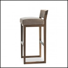 Stool in Solid Walnut Wood with Leather Seat 154-Norman