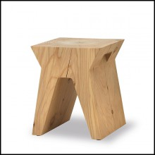 Stool made in a block of natural solid cedar trunk 154-Temple