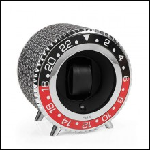 Watch Winder in aluminium in nickel finish 185-Black and Red Notched