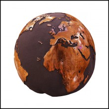 Sculpture en racine de teck vernie et sable de roche volcanique PC-Earth Globe Volcanic Powder and Teak n°A
