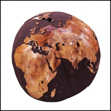 Sculpture en racine de teck vernie et sable de roche volcanique PC-Globe Earth Volcanic Powder and Teak n°B