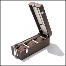 Box with brown cowhide leather and in polished nickel-plated brass 186-Luxury Triple Watch Brown or Blue or Redwine