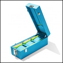 Box with turquoise leather in polished nickel-plated brass 186-Luxury Triple Watch Turquoise or Red