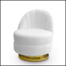 Armchair in solid wood with white velvet fabric 157-Stanford Swivel