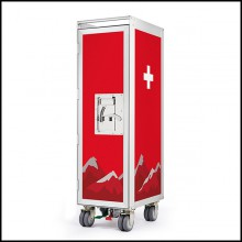 Trolley on wheels with lock option included 159-Switzerland Aircraft Bar