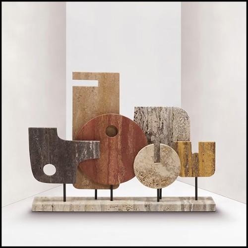 Table ronde avec plateau rond en marbre noir 162-Warhead