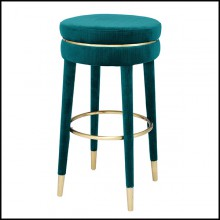 Bar stool with legs in brass in burshed finish and velvet fabric 24-Parisian Blue