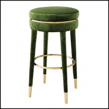Bar stool with velvet fabric in green finish and brass in brushed finish 24-Parisian Green