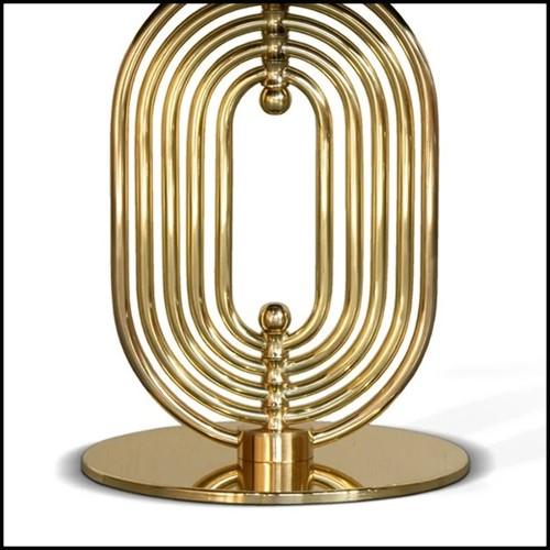 Table de repas en acier inoxydable et pied en marbre 24-Genova