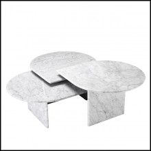 Table basse en marbre massif blanc 24-Naples Set of 3