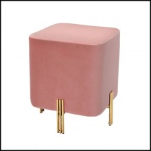 Stool with legs in gold finish and velvet fabric in Savona Nude finish 24-Burnett Nude