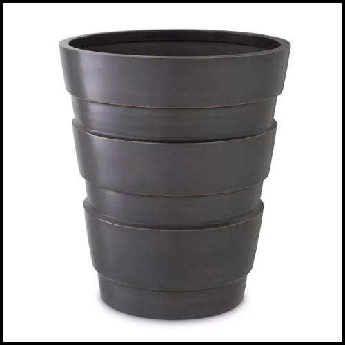 Tabouret avec pieds finition gold et tissu velours coloris Savona Black 24-Burnett Black