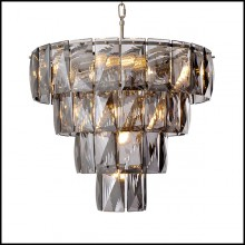 Chandelier finition nickel et verre cristal 24-Amazone S
