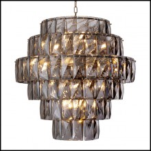 Chandelier finition nickel et verre cristal 24-Amazone L