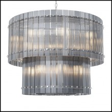 Chandelier in nickel finish and smoke glass 24-Ruby L