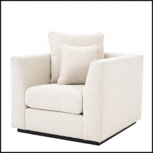 Sofa with velvet fabric in Bouclé Cream finish and base in black finish 24-Taylor Bouclé Cream