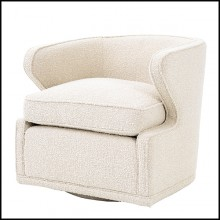 Armchair with velvet fabric in Bouclé Cream finish and swivel base 24-Dorset Bouclé Cream
