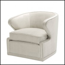 Armchair with velvet fabric in Pebble Grey and swivel base 24-Dorset Pebble Grey