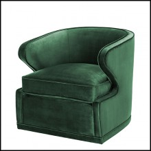 Armchair with velvet fabric in Roche Green finish and with swivel base 24-Dorset Roche Green