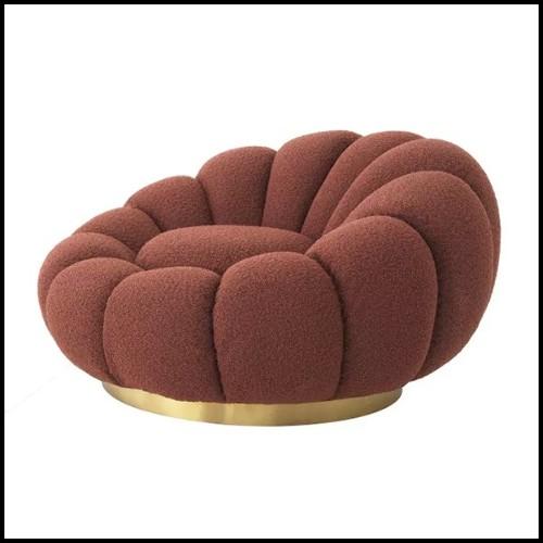 Fauteuil avec tissu velours coloris Roche Green et avec base pivotante 24-Dorset Roche Green