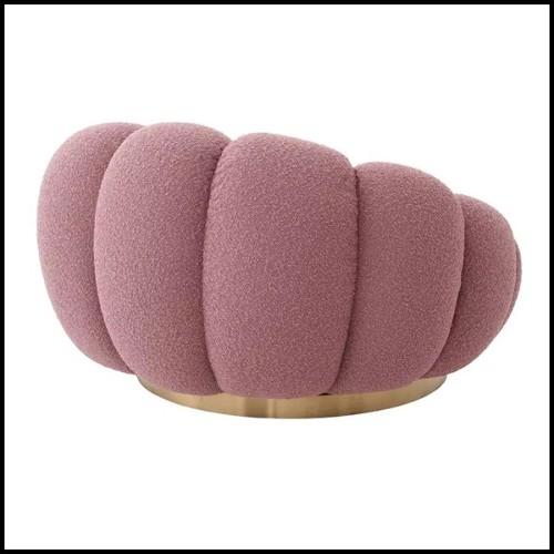 Canapé avec tissu coloris Shearling et base finition laiton brossé 24-Mirage Shearling