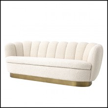Sofa with fabric in Shearling finish and base in brushed brass finish 24-Mirage Shearling