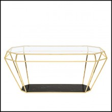 Dining Table in gold finish with black marble top 162-Talisma