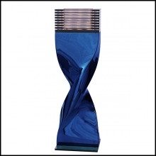 Table Lamp in casted aluminium in crafted blue chrome finish 184-Bow Tie Alu Blue XL or L