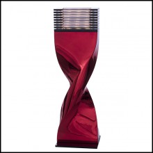 Table Lamp in casted aluminium in crafted red chrome finish 184-Bow Tie Alu Red XL or L