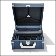 Suitcase with blue cowhide leather sheathing 186-Luxury Watch Blue or Redwine