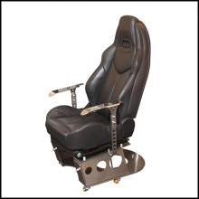 Armchair in polished solid stainless steel and seat in leather PC-Racing Pilot