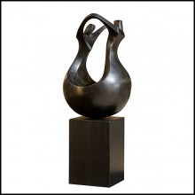 Sculpture in solid patinated bronze on black oak base 190-Unity Bronze