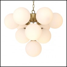 Chandelier in antique brass finish and shades in white glass 24-Icaro
