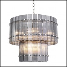 Chandelier finition nickel et verre fumé 24-Ruby S