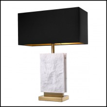 Table Lamp with base in brass in antique finish and leg in marble 24-Charleston