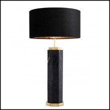 Table Lamp in marble with base in brass in antique finish and black shade 24-Newman Black