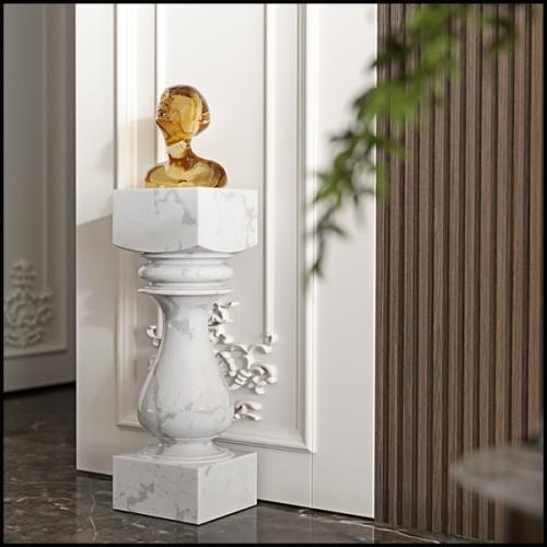 Lampe en marbre avec base en laiton finition antique et abat-jour noir 24-Newman Grey