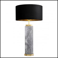 Table Lamp in marble with base in brass in antique finish and black shade 24-Newman Grey