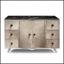 Sideboard in solid wood covered with buffalo skin 162-Buffalo