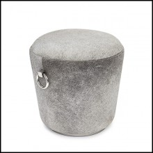 Stool in solid wood and covered with buffalo water skin 162-Buffalo
