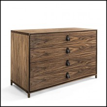 Chest of Drawers in solid walnut wood with 4 drawers 154-Ellite