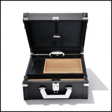 Suitcase covered with black Grained cowhide leather 186-Luxury Cuban Black or Red