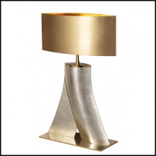Table lamp in casted aluminium with white gold leaf finish 184-One Step