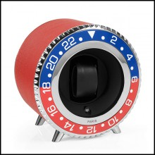 Watch Winder in blue and red aluminium in nickel finish 185-Red Leather